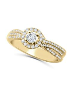 14K Gold Engagement Ring Set For Her 2/3ctw Diamonds Halo Style 2pc Set