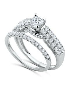 14K White Gold Bridal Set 1.25ctw Princess Cut Solitaire Center 0.45ct Engagement Ring and Band