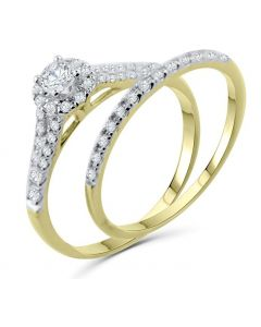 Diamond Rings Set Engagement Ring and Band Halo Style Solitaire Center 10K White gold, Yellow gold, Rose Gold 1/2ctw Womens Ring