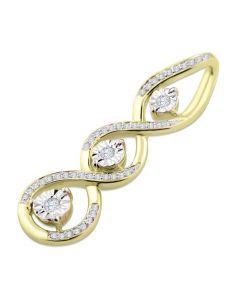 10K Yellow Gold Diamond Pendant 3 Stone Pendant Infinity Style Womens 32mm Tall 0.18ctw