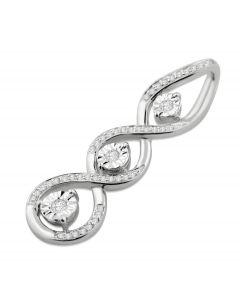 10K White Gold Diamond Pendant 3 Stone Pendant Infinity Style Womens 32mm Tall 0.18ctw