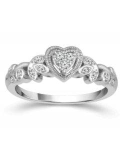 10K White Gold Heart Ring Vintage Style Promise Engagement Ring 1/10ctw Diamond Vines Style