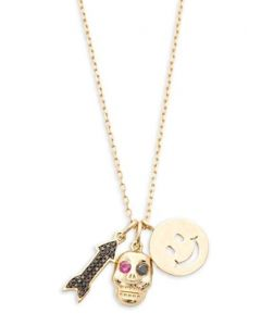Midwest Jewellery 14K Yellow Gold & Diamond Pendant and Necklace Set Arrow, Skull and Smiley Face Charms 18 Inch