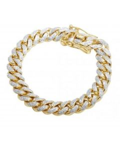Cuban Link Bracelet Miami Link 6mm Wide 9 Inch Long With Simulated Diamonds Pave Set 14K Gold Finish Silver