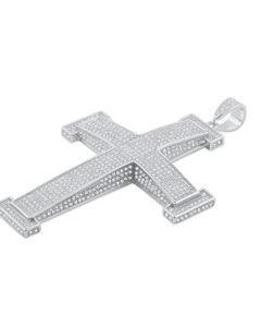 Extra Large Silver Cross Charm Mens Cross Pendant Silver With Iced Out Pave CZ
