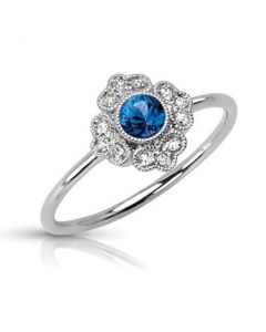 Vintage Engagement Ring With Blue Sapphire and Diamond 14K White Gold 0.25ctw