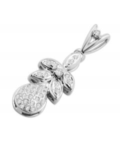 10K White Gold Diamond Pendant 1/5ctw Diamond Pear Shaped leaves and Fruit Style Pendant