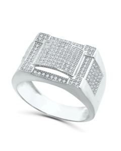 10K White Gold Mens Ring Diamond 0.50ctw Fashion Pinky Ring 14mm Wide