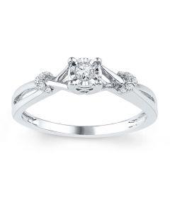 10K White Gold Promise Ring Diamond Ring 1/10ctw Split Sides Petite Engagement Ring