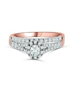 Diamond Rings Set Engagement Ring and Band Halo Style Round Solitaire Center 10K  Rose Gold 1/2ctw