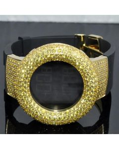 Yellow CZ Watch mens Digital KC Rubber Band Bazel Case Luggs 48mm Aqual Jino