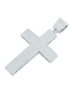 Silver Cross Pendant Mens Cross Charm XL Extra Large With CZ 80mm Tall