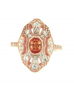 Rose Gold Tone Simulated Morganite Statement Ring Vintage Inspired Simulated Diamond Antique Ring