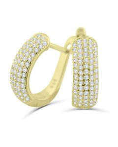 14K Gold-Tone Silver Hoop Earrings Huggies Pave Set CZ 17mm X 6mm Womens Earrings