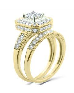 14K Gold Princess Cut Bridal Set Lage Halo Baguette and Round Diamonds 1.00ctw