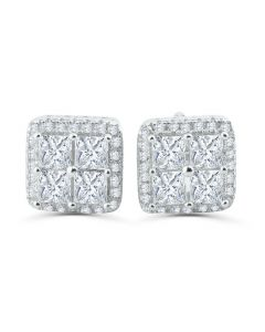 Mens Silver Earrings Princess Cut 14K White Gold-Tone Screw Back 10mm