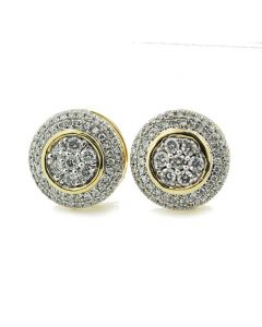 10K Gold Diamond Fashion Earrings 0.45ctw 10mm Wide Round Cluster Screw Back