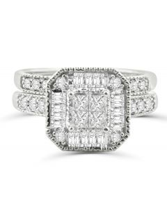 14K White Gold Princess Cut Bridal Set Lage Halo Baguette and Round Diamonds 1.00ctw