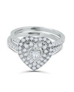 14K White Gold Heart Shaped Bridal Engagement Ring Set 2pc Set 1.00ctw Diamond