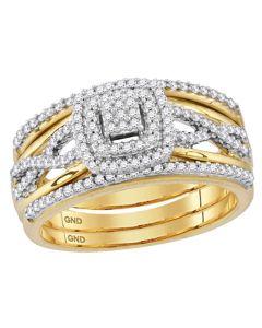 10K Gold Wedding Ring Set 3/8ctw Diamonds Halo Style Infinity Sides 3 pc Set