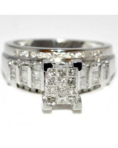 Princess Cut Diamond Wedding Ring 3 in 1 Engagement & bands 10K white gold .9ct Real