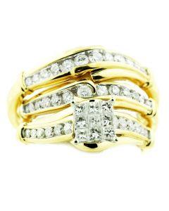 14K Gold His and Her Rings Set 1/2ctw Diamonds Princess Cuts and Round Mens and Womens 3pc Set