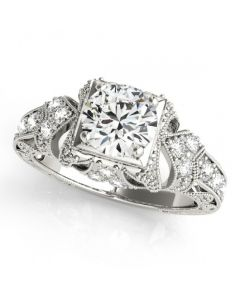 14K White Gold Antique Semi Mount Engagement Ring Fits 1ct Round Solitaire