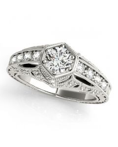 Semi Mount Engagement Ring Antique Fits 0.5ct Round Solitaire 14K White Gold