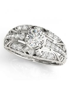 14K White gold Antique Semi Mount Engagement Ring Fits 0.5ct Solitaire