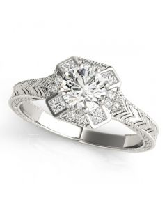 14K White Gold Filigree Engagement Ring Semi Mount Antique Style fits 0.5ct Round Solitaire