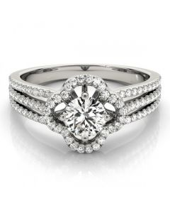 14K White Gold Semi Mount Engagement Ring Multi-Row Fits 0.5ct Solitaire