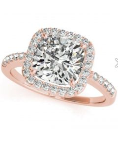 14K Rose Gold Cushion Cut Solitaire Setting fits 6X6 Center
