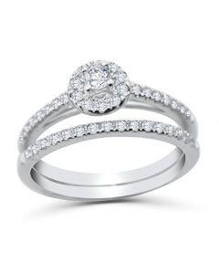 10k White Gold Engagement Ring Set 1/2ctw Halo Style 2pc Bridal Set