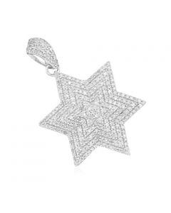 14K White Gold Star David Pendant 6 Point Star With Diamonds 0.80ctw (i2/i3, i/j)