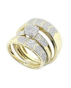 1/2cttw Diamond Trio Wedding Rings Set 10K Yellow Gold His and Her 3pc Set