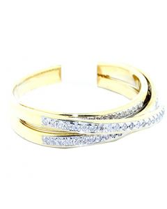 Criss Cross Ring 10k Yellow and White Gold 0.2ctw 5mm Wide Fashion Anniversary Band