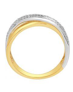 Criss Cross Ring 10K Two Tone Yellow White Gold 6mm Wide 0.2ctw Diamonds