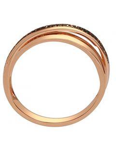 0.25ct Cognac Diamond 10K Rose Gold Criss Cross Ring Anniversary Band 5mm Wide