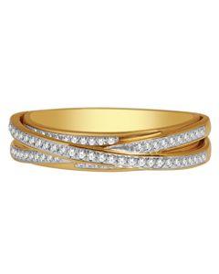 0.25ct Diamond 10K Yellow Gold Anniversay Fashion Band Ring Criss Cross 4.5mm Wide