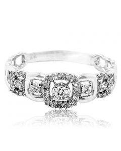 0.2ctw Diamond Annniversary Fashion Ring 10K Yellow Gold 6mm Wide
