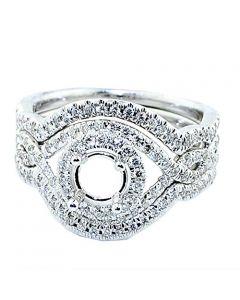 0.75ctw Diamond Semi Mount Bridal Set 3pc Infinity Halo Fits 0.75ct Solitaire 14KW