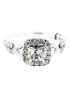 0.5ct Cognac And White Diamond Semi Mount Ring Fits 1ct Diamond 14K White Gold