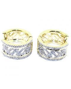 10K Yellow Gold Cross Hoop Earrrings 15mm 0.5ctw Diamonds Two Tone