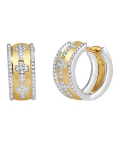 14.5mm Hoop Earrings with Crosses 10K Yellow and White Gold Two Tone 0.33ctw