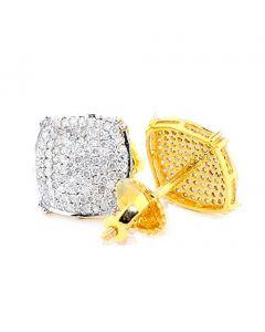 Big Diamond Stud Earrings for Men 0.50ct 10k Yellow Gold Pave Set Screw Back 9.5mm