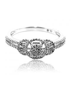 0.21ct Diamond Engagement Promise Ring 10K White Gold 7.5mm Wide
