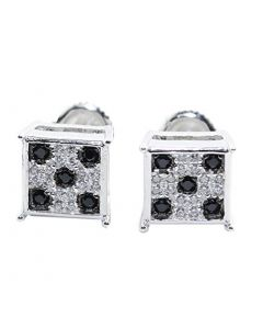 Stud Earrings Sterling Silver Square Shaped Black And White CZ Screw Back 9MM