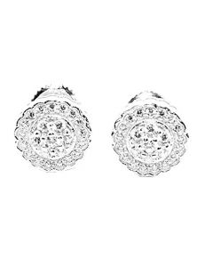 Womens Stud Earrings Silver Round Cluster CZ Screw Back 9MM