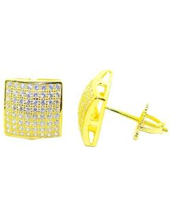 Mens Stud Earrings Gold-Tone Large Square Domed CZ Screw Back 10.5MM