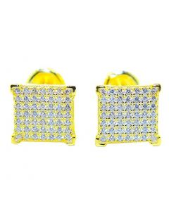 Mens Stud Earrings Gold-Tone Square Princess Shaped Pave CZ Screw Back 9.5MM